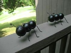 Golf Ball Crafts Garden ants from golf balls. - DIY bug crafts to do this summer with your preschooler. Ant Crafts, Garden Crafts, Arts And Crafts, Garden Ideas, Golf Crafts, Easy Garden, Decor Crafts, Yard Art Crafts, Garden Diy On A Budget