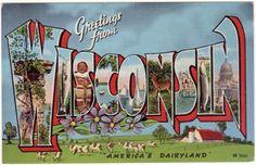 Vintage Wisconsin Postcard - Greetings from Wisconsin (Unused). $5.00, via Etsy.