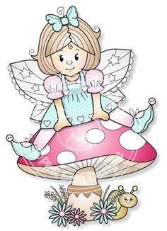 Digital Digi Faye on Toadstool Stamp por PinkGemDesigns en Etsy