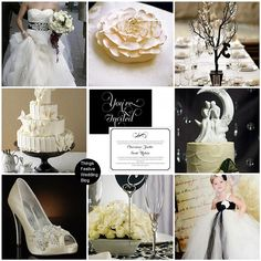 The color scheme for this was white, ivory, and black. It is very classic, beautiful, and romantic to me.