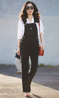 2.15 denim and red accents (HD in Paris white button-down shirt + Alexa Chung for AG denim overalls + Gianvito Rossi red pumps + Chanel bag + Karen Walker sunnies)