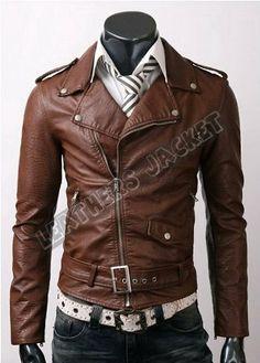 handmade men brown brando biker leather jacket men par DJCollection, $129.99