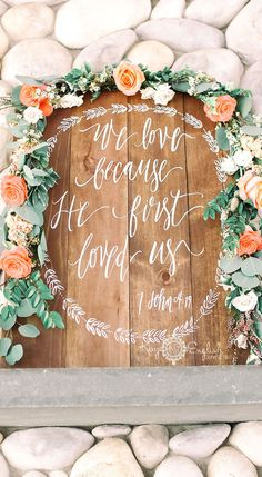 """We Love because He first Loved us"" WEDDING SIGN #bonnetisland #bonnetislandestate www.kayenglishphotography.com"
