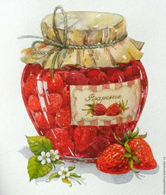 Watercolor Food, Watercolor Illustration, Watercolor Paintings, Image Pinterest, Strawberry Decorations, Cute Food Drawings, Pintura Country, Decoupage Paper, Kitchen Art