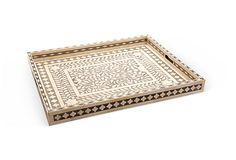 A taupe and gray inlay tray from india, would make a perfect accessory for a coffee table.