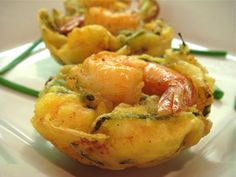 Malaysian Cucur Udang (Prawn Fritters)   My mum and aunts call them flying saucers   this is how they should look   Shrimp riding high on top!