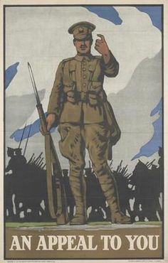 Muscular Bondng, camaraderie, 1915, a full-length depiction of British soldier holding his rifle with fixed bayonet and beckoning to the viewer. Behind him the silhouettes of marching infantrymen and officers on horseback move from right to left. PRC no. 88 (image also used in an Australian poster see IWM PST12242)