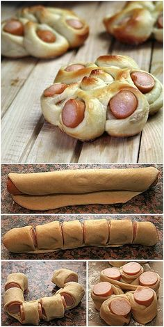 Creative Ideas - DIY Flower Shaped Hotdog bun Every kid seems to love hot dog. The combination of hot dog and bread dough will be great to satisfy them. Lets give regular hot dog diys Comida Diy, Snack Recipes, Cooking Recipes, Dinner Recipes, Pizza Recipes, Hot Dog Recipes, Bread Recipes, Dinner Ideas, Tasty