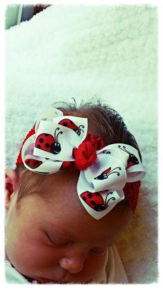 Lady Bug Hair bow, Hair bow, Lady bug hair clip, Toddler hair bow, Baby hair bow, hair clip, Little girl hair bow, white hair bow, lady bug by MyFourBlooms on Etsy