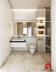 White Bathroom. Modern House. Ho Chi Minh City, Vietnam. Designed by Gil Design. Gildesign.vn