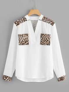 Shop Leopard Panel V Neck Blouse online. SHEIN offers Leopard Panel V Neck Blouse & more to fit your fashionable needs. Bluse Outfit, Looks Chic, Fall Shirts, Asymmetrical Tops, V Neck Blouse, Blouse Online, Blouse Designs, Fashion Outfits, Fashion Styles