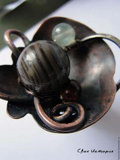 """Купить Кольцо из меди «Jardins de Versailles""""-Сады Версаля - коричневый, зеленый, кольцо медное"""