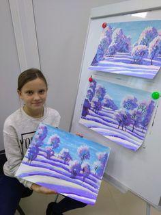 Winter Art Projects, Easy Art Projects, School Art Projects, Art School, Drawing For Kids, Painting For Kids, Painting & Drawing, Art For Kids, Kids Art Galleries