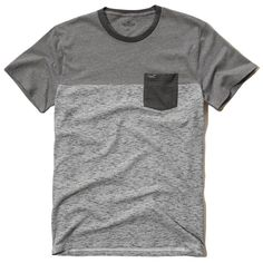 Hollister Must-Have Contrast T-Shirt (32 BRL) ❤ liked on Polyvore featuring men's fashion, men's clothing, men's shirts, men's t-shirts, grey, mens pocket t shirts, mens grey shirt, mens slim shirts, j crew mens shirts and mens grey t shirt