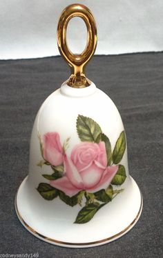 Danbury Mint Porcelain American Pink Rose Bell Titled First Love  IOB   -  #2