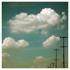 Nature Photograph  Clouds  Telephone Wires  Sky  by AliciaBock, $35.00