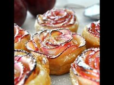 Apple Roses - Impress your guests with this beautiful rose-shaped dessert made with lots of soft and delicious apple slices, wrapped in sweet and crispy puff pastry. Rose Shaped Apple Baked Dessert by Cooking with Manuela No Cook Desserts, Just Desserts, Delicious Desserts, Dessert Recipes, Yummy Food, Dessert Ideas, Easy Apple Desserts, Drink Recipes, Apple Deserts