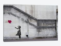 "There Is Always Hope Balloon Girl by Banksy Canvas Print 40"" L x 26"" H x 0.75"" D"