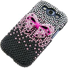 Rhinestones Protector Case for Samsung Galaxy S III, 3D Ribbon Full Diamond (Pink/Black)  For my new phone