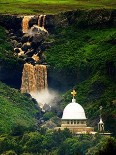 IMG_1113a, via Flickr. Waterfall behind Debre Libanos Monastery in Ethiopia - rainy season