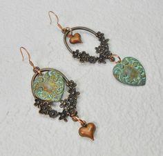 Bohemian Heart Earrings / Valentines Day Earrings / Boho Statement Earrings / Copper & Verdigris Earrings / Dangle Earrings - BoHo HEARTS by CayasCreativeDesigns on Etsy