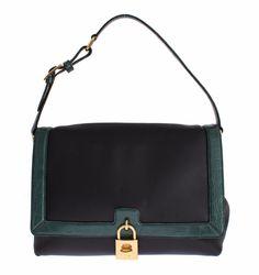 MISS BONITA Green Caiman Leather Hand Shoulder Bag