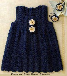 Pink Rose crochet: Crochet Jumper Dress for Girls