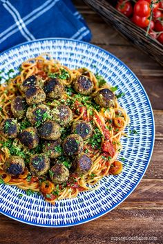 Vegan Aubergine 'Meatballs' – an absolutely delicious meat-free recipe. Serve with spaghetti or zoodles