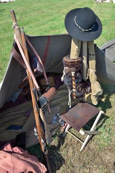 Fur trader re-enactor's tent and gear.