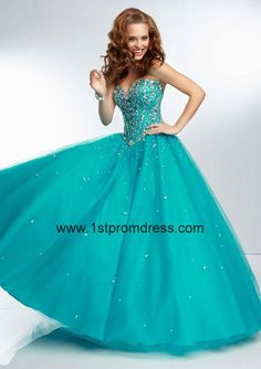 2014 Quinceanera Dresses, 2014 Turquoise Sweetheart Beaded Quinceanera Dress with Sheer Back and Tulle A-line Style MLER052, prom dress