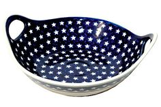 Blue Rose Polish Pottery: Stars & Stripes Deep Serving Bowl with Handles