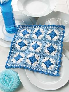 Shades of Blue Dishcloth Crochet Pattern Download from e-PatternsCentral.com -- This sturdy, absorbent dishcloth is made with quick-to-stitch mini granny squares.