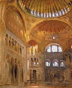 Inside Hagia Sophia: This spectacular place contains a vast area, with many mysterious objects, spaces and secrets. This golden image inside the dome was painted by John Singer Sargent in 1891.