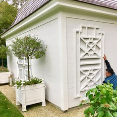 Finally getting around to adding trellis detail to sides of my little potting shed. Excited to work on these little gardens and space to enjoy come spring? Outdoor Sheds, Outdoor Rooms, Outdoor Gardens, Outdoor Living, Outdoor Decor, Outdoor Fun, Garden Tool Shed, Garden Arbor, Garden Paths