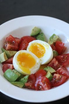 Soft boiled egg with avocado and tomatoes.