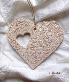 Ceramic heart to hang.