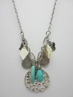 Charm Necklace Turquoise Effect Stones Silver Tone Metal Disc Chain Chunky