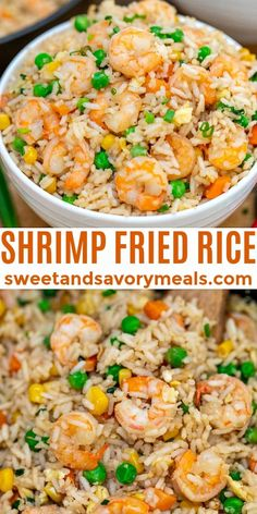Shrimp Fried Rice is best made with leftovers and that makes this twice better than takeout! #shrimprecipes #shrimpfriedrice #friedrice #sweetandsavorymeals #chineserecipes