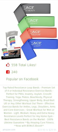 Top christmas gift on Facebook.  240 people likes on Internet. 240 facebook likes. amazing core fitness amazon christmas gift. top rated resistance loop bands premium set of 4 or individual resistance exercise bands perfect for p90x insanity asylum crossfit training yoga pilates beachbody physical therapy strengthening upper body brazil butt lift or any other workout out there effective exercise bands for ankles legs shoulders arms and core exercises great workout for men or women light…