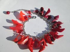 Barbie shoe Charm Bracelet in Shades of RED  / ITEM 3476