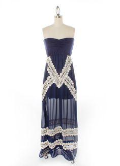 Crochet Stripe Maxi Dress | Freckles Boutique