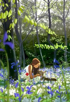 Girl Dog Bluebell Art by Pascal Campion Art And Illustration, Pascal Campion, Anime Art Girl, Aesthetic Art, Cartoon Art, Cute Art, Amazing Art, Awesome, Illustrators