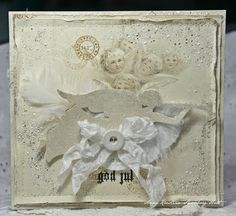 handmade Christmas card ... shabby chic ... white on white ... collage ... wrinkled ribbon ... touches of perfect pearls ... lovely!