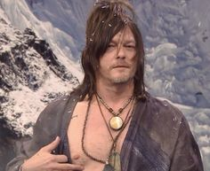 Actor Norman Reedus with host Jimmy Fallon during 'Intense Staredown' sketch on March 24 2017