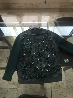 Rochas Embroided Emerald Green Mikado Cashmere Sweater RRP$2500 BNWT 40EU 6US…