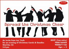 Join us Today at 5 pm for an Evening of Carol Singing to Celebrate the Christmas Cheer! We will be serving Christmas goodies to all our guests & we request you to carry forward the Christmas Cheer by helping us with your donations for the Kids at the Rakum School for the Blind, Jakkur. We assure you the funds collected will be used by us to get the kids what they really need. :) #ChristmasForACause