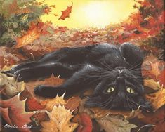 Items similar to Charlie - 8 x 10 Print of Original Acrylic Black Cat Painting by Carolee Clark on Etsy Black Cat Painting, Black Cat Art, Autumn Painting, Black Cats, Fall Cats, Halloween Artwork, Art Corner, Cat Drawing, Whimsical Art