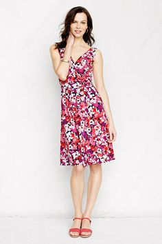 Women's Sleeveless Cotton Modal Pattern Fit and Flare Dress from Lands' End... Easter dress this year?