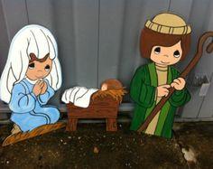Christmas Nativity  Holiday Wooden  Yard Art Personalized 3 pc. set