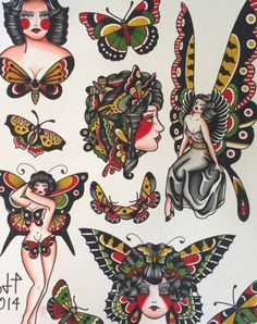 Traditional Tattoo Drawings, Traditional Butterfly Tattoo, Traditional Tattoo Woman, Traditional Tattoo Old School, Traditional Tattoo Flash, Traditional Tattoo Halloween, American Traditional Tattoos, 4 Tattoo, Body Art Tattoos